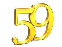 3D Gold Nr. neunundfünfzig auf weißem Hintergrund Stockfoto