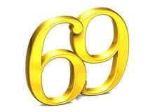 3D Gold Nr. neunundsechzig auf weißem Hintergrund Stockfotografie