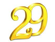 3D Gold Nr. neunundzwanzig auf weißem Hintergrund Lizenzfreies Stockbild