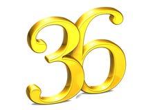 3D Gold Nr. sechsunddreißig auf weißem Hintergrund Stockbilder