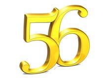 3D Gold Nr. sechsundfünfzig auf weißem Hintergrund Stockfotografie