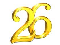 3D Gold Nr. sechsundzwanzig auf weißem Hintergrund Stockfotografie