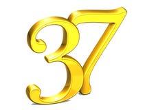 3D Gold Nr. siebenunddreißig auf weißem Hintergrund Lizenzfreies Stockfoto