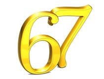 3D Gold Nr. siebenundsechzig auf weißem Hintergrund Lizenzfreie Stockfotografie