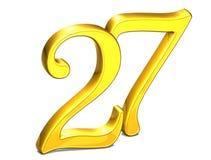 3D Gold Nr. siebenundzwanzig auf weißem Hintergrund Lizenzfreies Stockfoto
