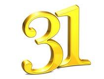 3D Gold Nr. thirty-one auf weißem Hintergrund Lizenzfreies Stockfoto