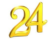 3D Gold Nr. twenty-four auf weißem Hintergrund Lizenzfreie Stockbilder