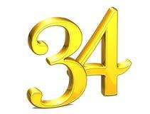 3D Gold Nr. vierunddreißig auf weißem Hintergrund Lizenzfreies Stockfoto