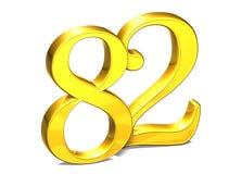 3D Gold Nr. zweiundachzig auf weißem Hintergrund Stockbilder
