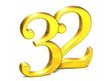 3D Gold Nr. zweiunddreißig auf weißem Hintergrund Stockfoto