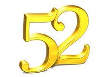 3D Gold Nr. zweiundfünfzig auf weißem Hintergrund Lizenzfreies Stockfoto