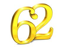 3D Gold Nr. zweiundsechzig auf weißem Hintergrund Stockbild