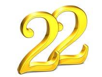 3D Gold Nr. zweiundzwanzig auf weißem Hintergrund Lizenzfreies Stockbild
