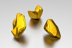 3D Gold Nuggets - Concept Royalty Free Stock Photos