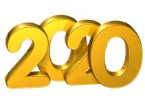 3D Gold Number New Year 2020 on white background.  Stock Photo