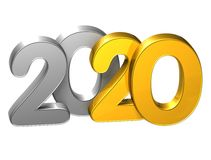3D Gold Number New Year 2020 on white background.  Stock Images