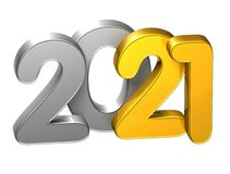 3D Gold Number New Year 2021 on white background Royalty Free Stock Photo