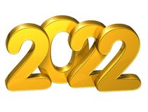 3D Gold Number New Year 2022 on white background.  Royalty Free Stock Photo