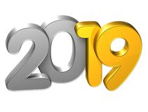 3D Gold Number New Year 2019 on white background.  Stock Images