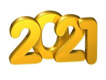 3D Gold Number New Year 2021 on white background Stock Photography