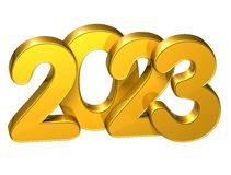 3D Gold Number New Year 2023 on white background Stock Photos