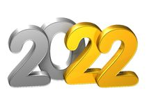 3D Gold Number New Year 2022 on white background.  Royalty Free Stock Image