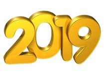 3D Gold Number New Year 2019 on white background.  Stock Photography