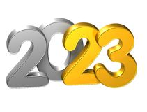 3D Gold Number New Year 2023 on white background Royalty Free Stock Images