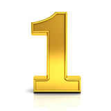 3D gold number one over white Royalty Free Stock Photo