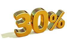3d Gold 30 Percent Discount Sign Stock Image