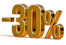 3d Gold 30 Percent Discount Sign Royalty Free Stock Photos