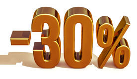 3d Gold 30 Percent Discount Sign Stock Photography