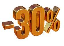 3d Gold 30 Percent Discount Sign Stock Image