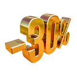 3d Gold 30 Percent Discount Sign Royalty Free Stock Images