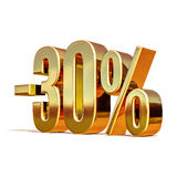 3d Gold 30 Percent Discount Sign Royalty Free Stock Photo