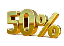 3d Gold 50 Percent Sign Stock Images