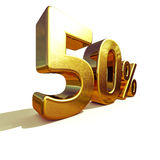 3d Gold 50 Percent Sign. 3d render: Gold 50 Percent Off Discount 3d Sign, Sale Banner Template, Special Offer 50% Off Discount Tag, Golden Sale Sticker, Gold Stock Images