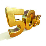 3d Gold 50 Percent Sign Royalty Free Stock Photos