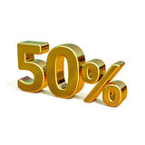 3d Gold 50 Percent Sign. 3d render: Gold 50 Percent Off Discount 3d Sign, Sale Banner Template, Special Offer 50% Off Discount Tag, Golden Sale Sticker, Gold Stock Photography