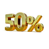 3d Gold 50 Percent Sign. 3d render: Gold 50 Percent Off Discount 3d Sign, Sale Banner Template, Special Offer 50% Off Discount Tag, Golden Sale Sticker, Gold Royalty Free Stock Photo