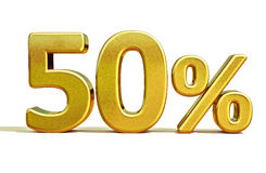 3d Gold 50 Percent Sign. 3d render: Gold 50 Percent Off Discount 3d Sign, Sale Banner Template, Special Offer 50% Off Discount Tag, Golden Sale Sticker, Gold Royalty Free Stock Photos