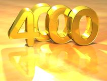 3D Gold Ranking Number 4000 on white background. Royalty Free Stock Images
