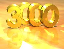 3D Gold Ranking Number 3000 on white background. Stock Photos