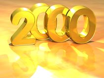 3D Gold Ranking Number 2000 on white background. Royalty Free Stock Photography