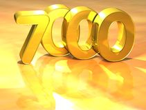 3D Gold Ranking Number 7000 on white background. Royalty Free Stock Images