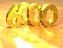 3D Gold Ranking Number 6000 on white background. Royalty Free Stock Photos