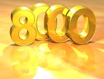 3D Gold Ranking Number 8000 on white background. Royalty Free Stock Photo