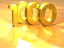 3D Gold Ranking Number 1000 on white background. Stock Photo
