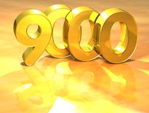3D Gold Ranking Number 9000 on white background. Stock Images