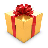 3d Gold and red gift box